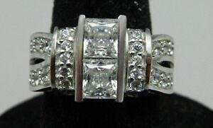 Estate Fresh JJJ Sterling Silver .925 Cubic Zirconia Engagement Ring Sz 5.75