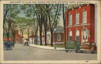 Boonville NY Main St. at Village Park Linen Postcard