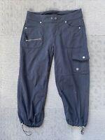 ATHLETA Bettona Boyfriend Capri Crop Pants Cinch Hem Cargo Pockets Black Size S