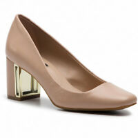 DKNY Womens Gigi Leather Square Toe Classic Pumps, Nude, Size 6.0 pN9C