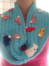 Hand Knitted Neck Warmer Scarf/cowl Bunny Infinity Scarf