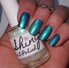 IRIDESCENT TURQUOISE TOP COAT Shiny Nail Polish 15ml indie 5-free vegan handmade