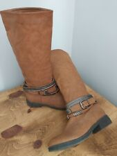 Ladies - Knee High - Tan - Faux Leather - Boots - Flat - Buckle Detail - Size 6
