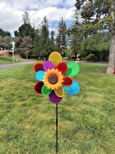 Heavy Duty  Rainbow Sparkle Double Flower pinwheel spinner