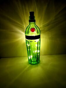 Tanqueray 10 Gin Green Bottle Lamp Warm White Colour LED Lights Gift Decoration