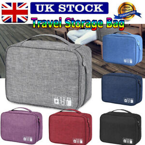Travel Storage Bag USB Charger Cable Cord Electronics Daily Gadget Organizer UK