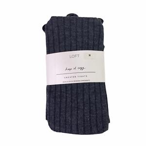 Loft Keep It Cozy Ribbed Charcoal Gray Sweater Tights Size Medium New NWT