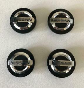 4X 3D 60mm Black/Silver Wheel Center Hub Caps Hubcaps Center Cover For Nissan