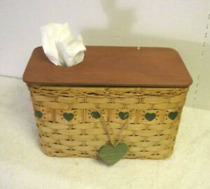 Vtg woven wicker rattan wood lid double Tissue Box Cover Holder country heart