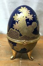 Vintage Blue and Gold Russian Faberge Egg with Nice Designs Beautiful
