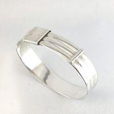 Italian Sterling Silver Bangle Bracelet Adjustable BR10