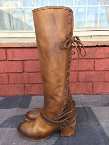 FREEBIRD BY STEVEN 'COAL' TALL LEATHER LACE-UP BOOT Size 8