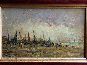 TABLEAU signé CLAUDE GARDY Peinture huile Marine port plage mer Océan Atlantique