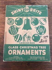 Vtg 1950s SHINY BRITE FANCY MERCURY Christmas Xmas Ornaments w/ box