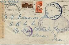 1943 CENSORED COVER INTO PERSIA WITH ALLIES CENSOR MARKS REF 1085