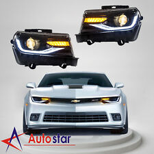 Pair For 2014-15 Chevrolet Chevy Camaro LED Headlights Sequential Turn Indicator
