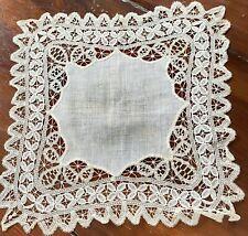 Vintage Antique Main Fabriqué Bande Dentelle Mariage Handkerchief WW271
