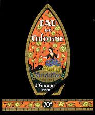 Antique French Perfume Label c.1920 Art Deco Viridiflor J. Giraud Fils Embossed