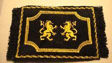 REGAL HERALDIC LIONS  LARGE MINI RUG  THIS IS DONE ON A LUSH BLACK  VELVET MAT