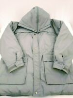 Mens Fieldmaster Grey/Plaid Cotton Blend Hooded Down Parka Size Large
