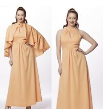 70s vintage peach keyhole halter gown with matching cape. Size S
