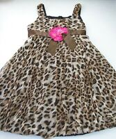 Girls BONNIE JEAN brown leopard sash pink flower party dress 7 puff hem pleated
