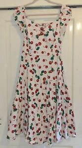 Collectif Dolores Doll Cherry Print Dress Size 14
