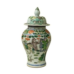 Chinese Distressed Off White Porcelain People Scenery Round Jar ws1359