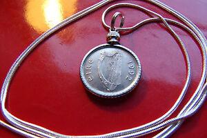 "1992 Irish Coin Pendant on a 30"" Sterling Silver Snake Chain. Gaelic Harp & Bull"