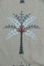 "SANDERSON CURTAIN FABRIC DESIGN ""Palm Grove"" 1 METRE RUBY/INDIGO EMBROIDERED"