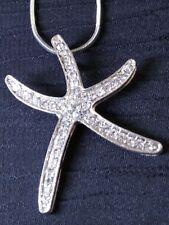 Sparkling Gems Silver Starfish Pendant for the Beach Lover You Love