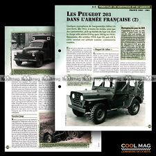 #vm102.05 ★ LES PEUGEOT 203 & L'ARMEE FRANCAISE (2) ★ Fiche Véhicule Militaire