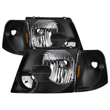 Ford 02-05 Explorer Black Housing Replacement Headlights + Corner Lamps Set