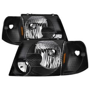 Ford 02-05 Explorer Black Housing Replacement Headlights + Corner Lamps Set