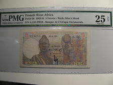 French West Africa  5 Francs 1943-1954 Wmk:Man's Head PMG Certified Very Fine