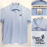 Peter Millar Mens Large Golf Shirt Polo Desert Willow Golf Resort Blue