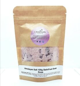 Himalayan Salt Bath Foot Soak Rose Petals And Rose Absolute Essential Oil 100g