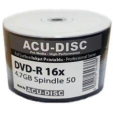 200 X ACU-DISC FULL FACE stampabile a getto d'inchiostro bianco Vuoto DVD-R 4.7GB