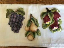 Vtg Home Interiors 3D Ceramic Fruit Wall Plaques (3) Grapes Pears Apples Homco