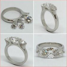 3 Stone Moissanite Ring 2.25 Ct White Round Engagement Ring 14K White Gold