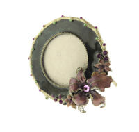 """Crystal Enamel Floral Orchid Photo Frame Round for 2.75"""""""