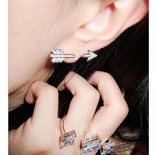 1PC Twinkle Silver Bow Arrow Charms Women's Crystal Clip-On Stud Earring Jewelry
