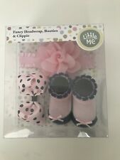 NEW Little Me Fancy Headwrap, Booties & Bow Clippie Gift Set White 0-12 Mo.