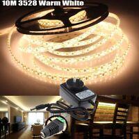 10M Cool White 600 SMD 3528 LED Strip Lights + AC 240V to DC 12V Power Adapter