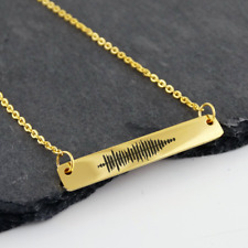 Sound Wave Bar Necklace -Gold Plated- Audio File Heartbeat Audio Song Custom
