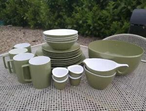 Vintage Green Melaware Melmex Melamine Plates Bowls Cups Camper Caravan Camping