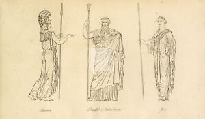 ANTIQUE Ancient Costume Print - Various Figures in Old Attire #F81