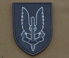 "PVC / Rubber Patch ""22 SAS Who Dares Wins"" Black Subdued with VELCRO® brand hook"