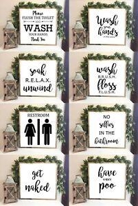 Bathroom, Toilet, Farmhouse Style Family sign Wash,Flush,Soak Print 20x20cm