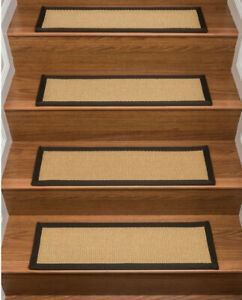 Lowell 100% Sisal Stair Treads Natural /Brown Border Latex Back Non Slip 13 Pc